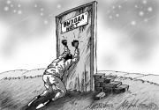 """El famoso caricaturista ruso Aleksey Merinov ironiza sobre la percepción de la crisis. En el cartel de la """"puerta"""" está puesto """"No hay salida""""."""